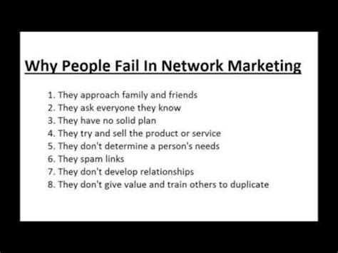 MLM Companies - Why People Fail In Network Marketing By