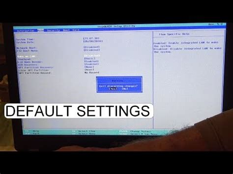 DEFAULT BIOS SETTINGS ACER ASPIRE ES 15 - YouTube