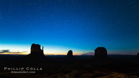 Monument Valley panorama at Night, Stars and impending
