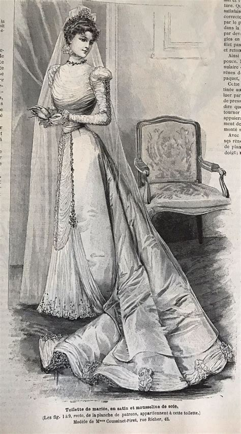 French MODE ILLUSTREE August 14,1898 BRIDE DRESS | Bride dress