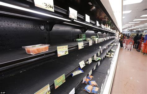 Empty shelves at a grocery store in Manhattan after New